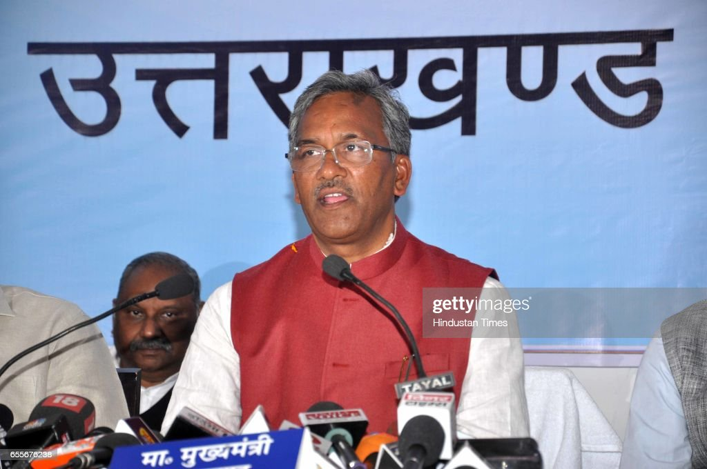 Uttarakhand Chief Minister Trivendra Singh Rawat addresses a press conference on March 20, 2017 in Dehradun, India. Senior BJP MLA Harbans Kapoor was today sworn-in as the Protem Speaker of the Uttarakhand Assembly. As the Protem Speaker, he will now administer the oath of office to the rest of the newly-elected MLAs.