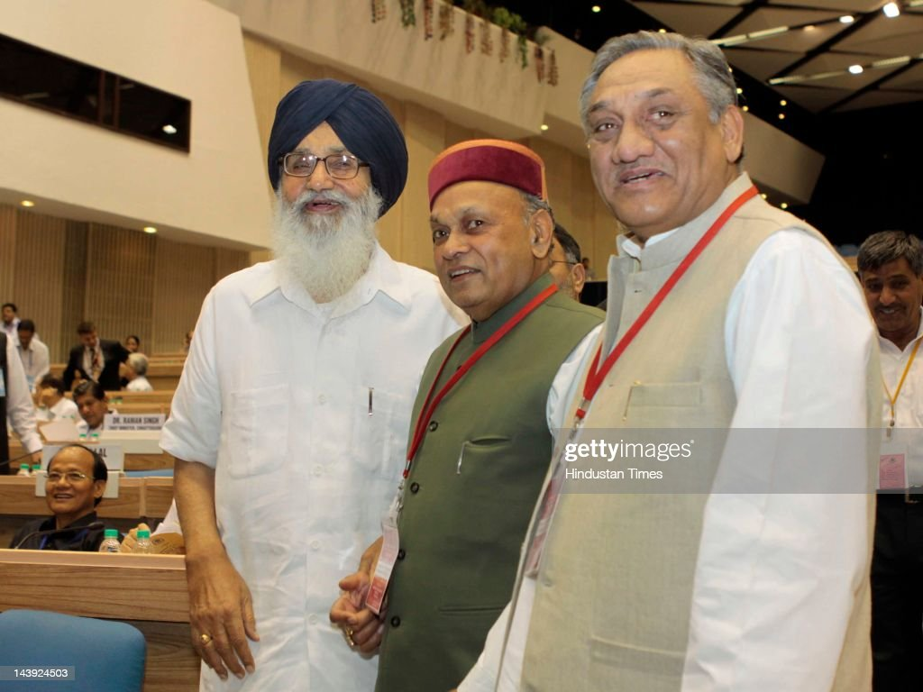 Uttarakhand Chief Minister Vijay Bahuguna with Himachal Chief Minister Prem Kumar Dhumal and Punjab CM Prakash Singh Badal during a National Counter...