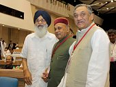 Uttarakhand Chief Minister Vijay Bahuguna with Himachal Chief Minister Prem Kumar Dhumal and Punjab CM Prakash Singh Badal during a National Counter...