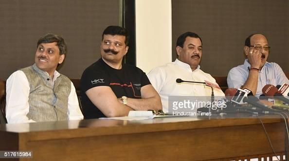 Uttarakhand Congress Rebel MLAs Saket Bahuguna Kunwar Pranav Singh 'Champion' Harak Singh Rawat and Subodh Uniyal during a press conference at...