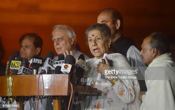 Uttarakhand crisis Congress party senior leader Ambika Soni addressing the media after meeting President Pranab Mukherjee at Rashtrapati Bhavan in...