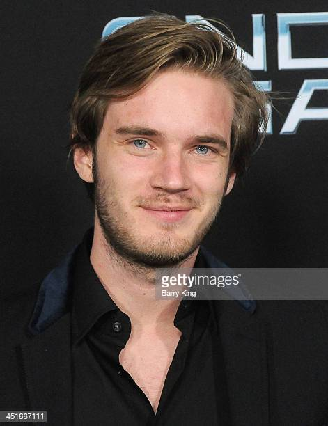 UTube sensation Felix Arvid Kjellberg arrives at the Los Angeles Premiere 'Ender's Game' on October 28 2013 at TCL Chinese Theatre in Hollywood...