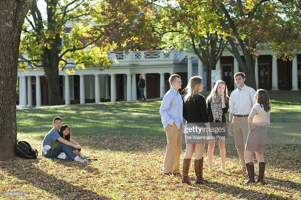UVa students enjoy a fall afternoon on the 'Lawn', on the grounds of the University of Virginia in Charlottesville Va. - Stephanie Gross FTWP 434.962.2019