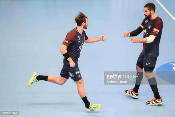 Uwe Gensheimer and Nikola Karabatic of PSG celebrates during the EHB Champions League match between Paris Saint Germain and Celje on October 8 2017...