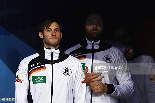 Uwe Gensheimer and team mates of Germany wait in the tunnel prior to the 25th IHF Men's World Championship 2017 match between Belarus and Germany at...