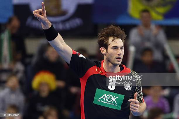 Uwe Gensheimer of Germany celebrates a goal during the 25th IHF Men's World Championship 2017 match between Belarus and Germany at Kindarena on...