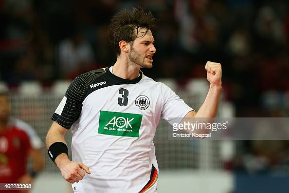 Uwe Gensheimer of Germany celebrates a goal during the eight final match between Germany and Egypt at Lusail Multipurpose Hall on January 26 2015 in...