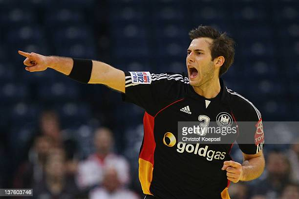 Uwe Gensheimer of Germany celebrates a goal during the Men's European Handball Championship second round group one match between Denmark and Germany...
