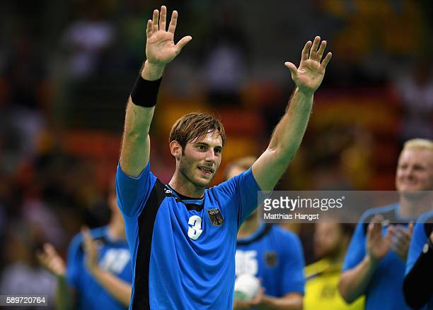 Uwe Gensheimer of Germany celebrates after the Men's Preliminary Group B match between Germany and Egypt on Day 10 of the Rio 2016 Olympic Games at...