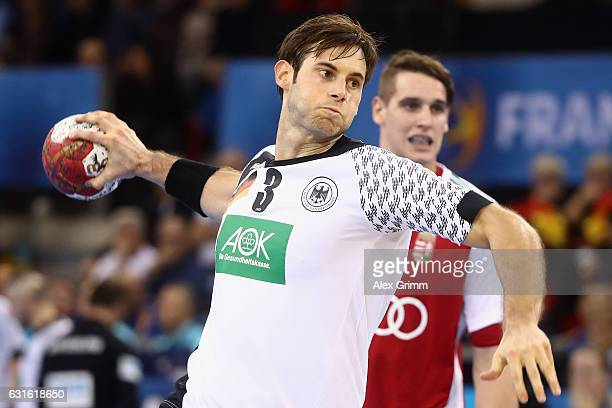 Uwe Gensheimer of Germany prepares for a penalty throw during the 25th IHF Men's World Championship 2017 match between Germany and Hungary at...