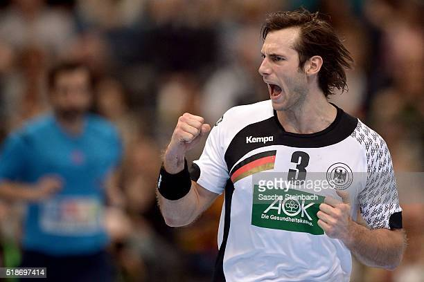 Uwe Gensheimer of Germany reacts during the Handball international friendly match between Germany and Denmark at Lanxess Arena on April 2 2016 in...