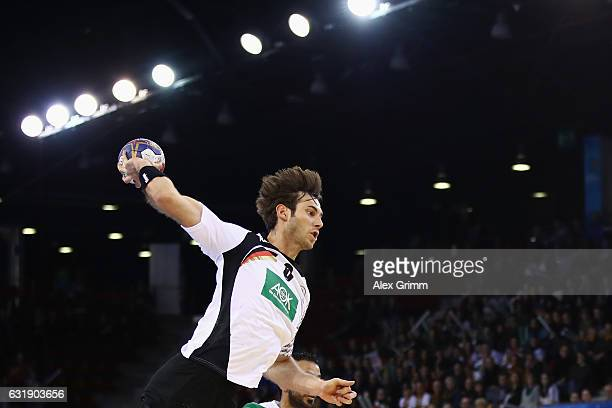 Uwe Gensheimer of Germany throws the ball during the 25th IHF Men's World Championship 2017 match between Germany and Saudi Arabia at Kindarena on...