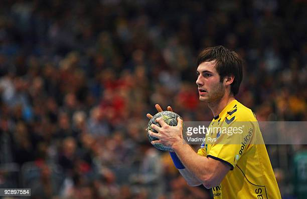 Uwe Gensheimer of Loewen in action during the Toyota Handball Bundesliga game between VfL Gummersbach and Rhein Neckar Loewen at Lanxess Arena on...