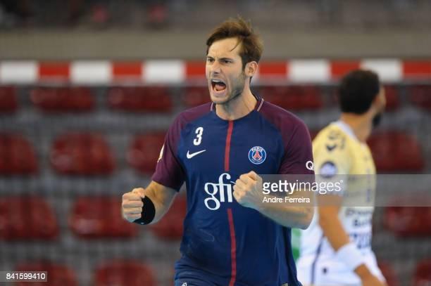 Uwe Gensheimer of PSG celebrates during the semi final match of the Handball Champions Trophy between Paris Saint Germain and Saint Raphael on...