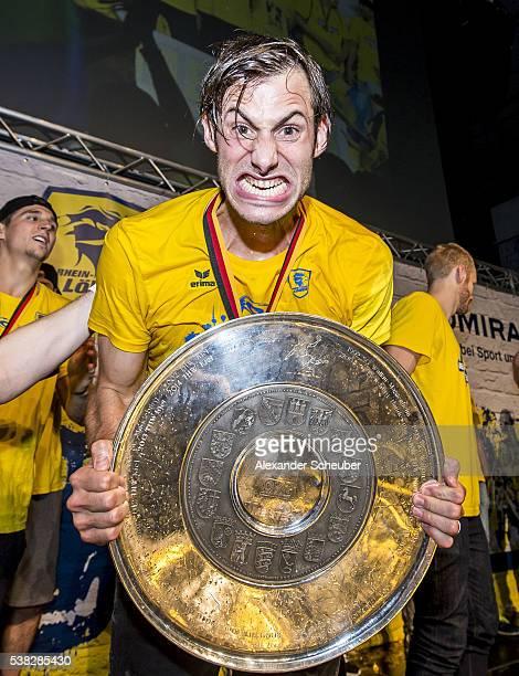 Uwe Gensheimer of RheinNeckar Loewen celebrate during the celebration party of winning the DKB Handball Bundesliga at Friedrichspark on June 5 2016...