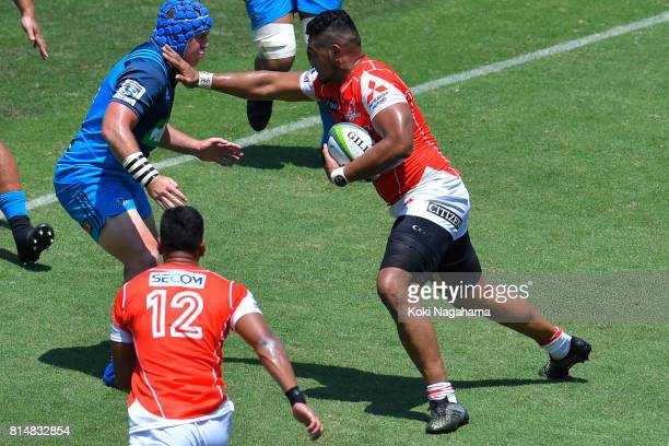 Uwe Helu of Sunwolves hands off during the Super Rugby match between the Sunwolves and the Blues at Prince Chichibu Stadium on July 15 2017 in Tokyo...