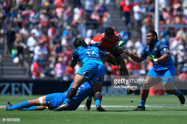 Uwe Helu of Sunwolves is tackled during the Super Rugby match between the Sunwolves and the Blues at Prince Chichibu Stadium on July 15 2017 in Tokyo...