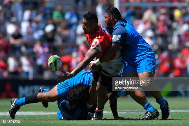 Uwe Helu of Sunwolves passes the ball during the Super Rugby match between the Sunwolves and the Blues at Prince Chichibu Stadium on July 15 2017 in...
