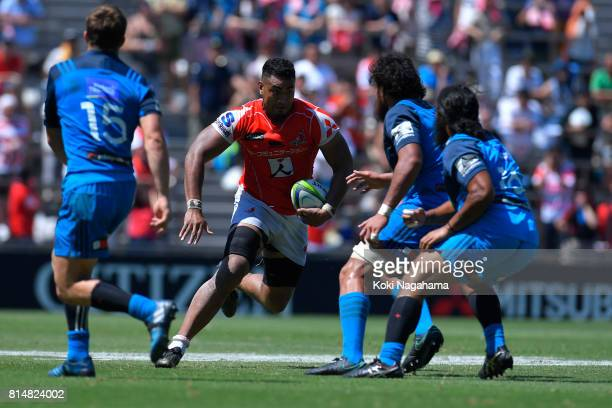 Uwe Helu of Sunwolves runs with the ball during the Super Rugby match between the Sunwolves and the Blues at Prince Chichibu Stadium on July 15 2017...