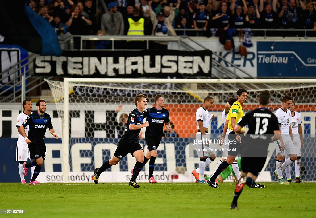 Uwe Huehemeier of SC Paderborn celebrates as he scores their second goal during the Bundesliga match between SC Paderborn 07 and Eintracht Frankfurt...