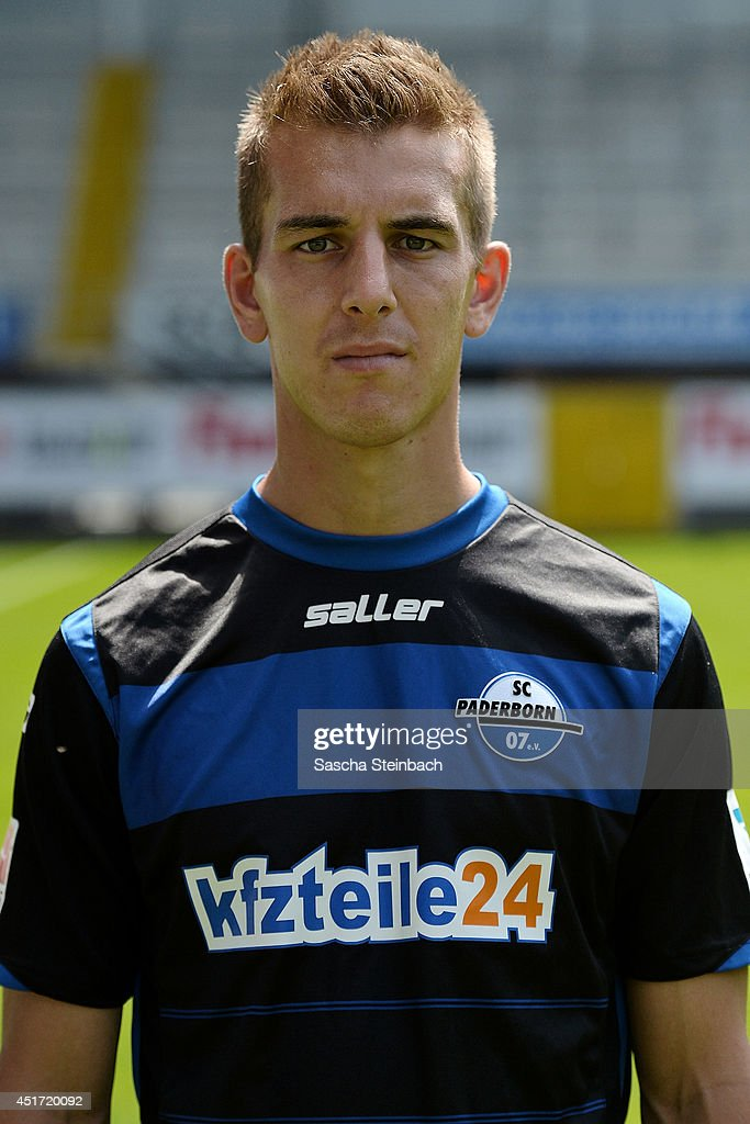 <a gi-track='captionPersonalityLinkClicked' href=/galleries/search?phrase=Uwe+Huenemeier&family=editorial&specificpeople=787576 ng-click='$event.stopPropagation()'>Uwe Huenemeier</a> poses during SC Paderborn 07 team presentation at Benteler-Arena on July 4, 2014 in Paderborn, Germany.