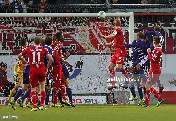 Uwe Moehrle of Cottbus scores the fourth goal during the third league match between FC Energie Cottbus and VFL Osnabrueck at Stadion der Freundschaft...