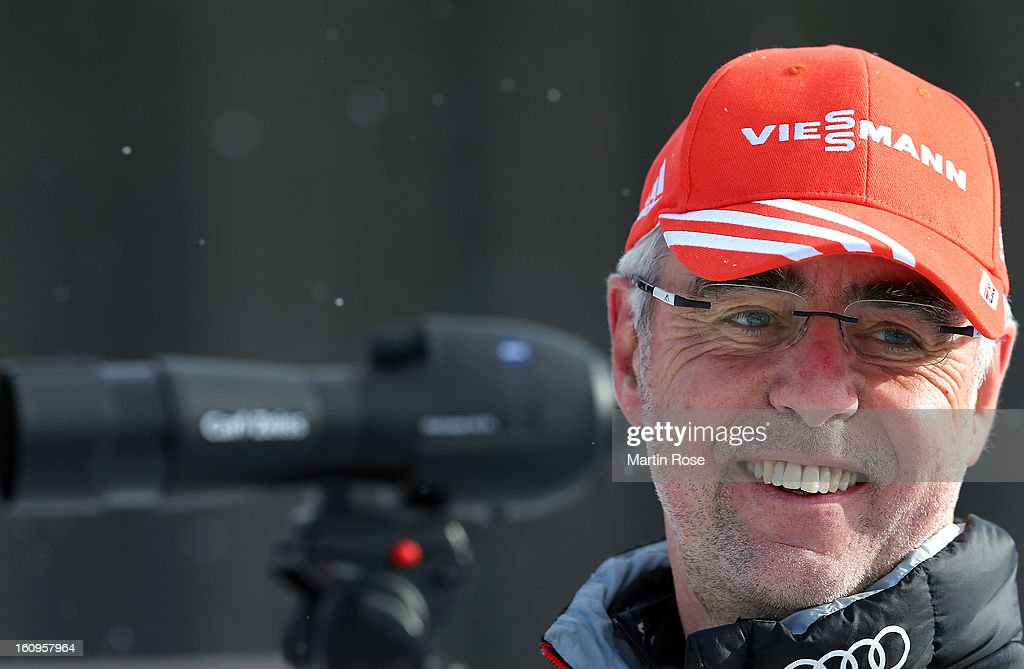 Uwe Muessiggang, head coach of Germany looks on during an offical training session during the IBU Biathlon World Championships at Vysocina Arena on February 8, 2013 in Nove Mesto na Morave, Czech Republic.