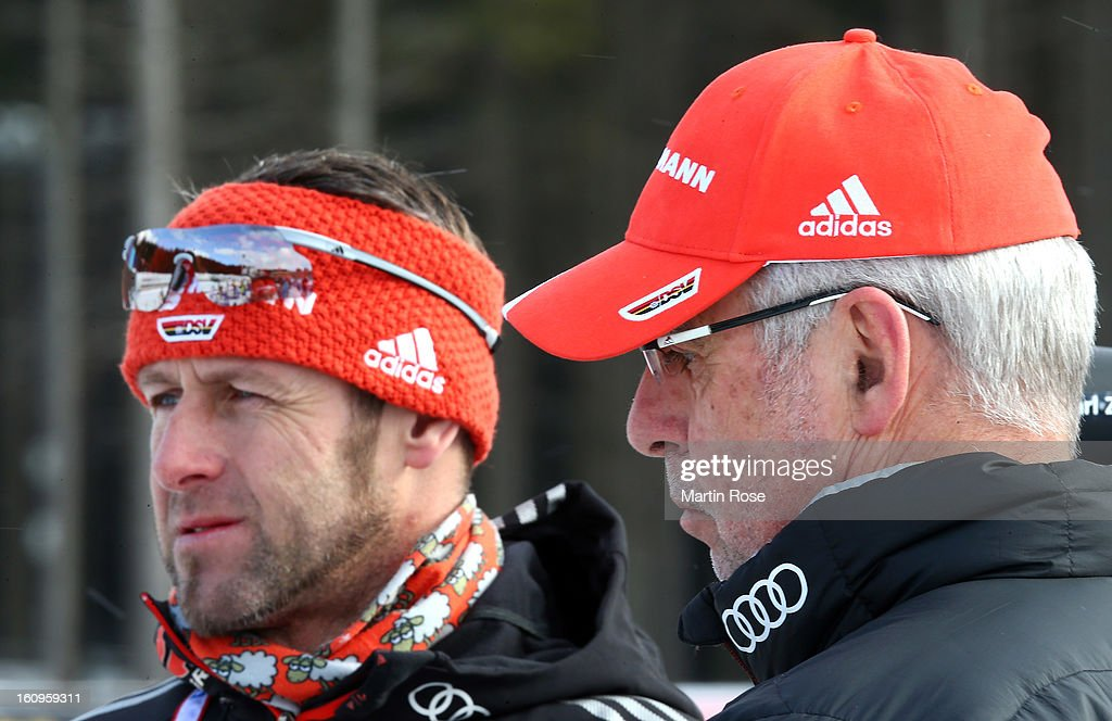 Uwe Muessiggang (R), head coach of Germany talks to assistant coach Mark Kirchner during an offical training session during the IBU Biathlon World Championships at Vysocina Arena on February 8, 2013 in Nove Mesto na Morave, Czech Republic.