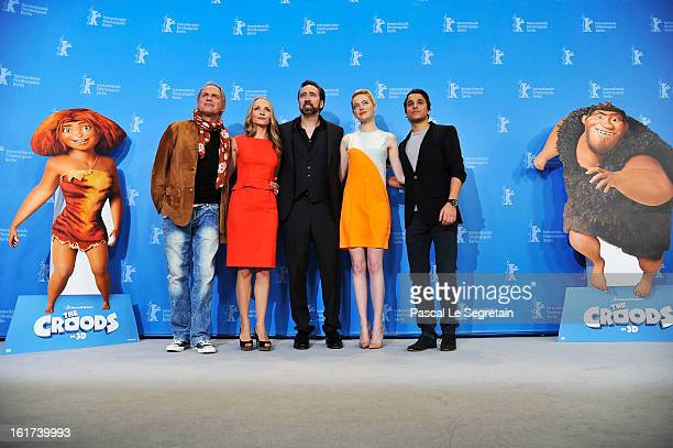 Uwe Ochsenknecht Janin Reinhardt Nicolas Cage Emma Stone and Kostja Ullmann attend the 'The Croods' Photocall during the 63rd Berlinale International...