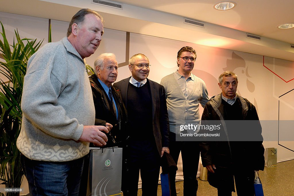 Uwe Reinders, Michel Hidalgo, Felix Magath, Wilfried Hannes and Alain Giresse pose during a meeting of the 1982 World Cup teams of France and Germany on February 6, 2013 in Paris, France.