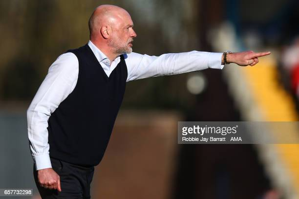 Uwe Rosler head coach / manager of Fleetwood Town during the Sky Bet League One match between Bury and Fleetwood Town at Gigg Lane on March 25 2017...
