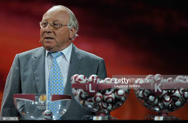Uwe Seeler former German and Werder Bremen player draws the balls during the UEFA Europa League Group Stage Draw at the Grimaldi Forum on August 28...