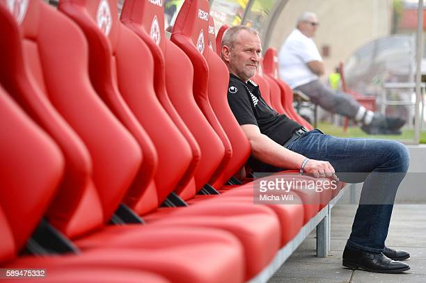 Uwe Stoever sports director of Kaiserslautern looks on prior to the Second Bundesliga match between FC Wuerzburger Kickers and 1 FC Kaiserslautern at...