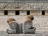 Uxmal double headed maya statue