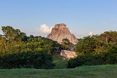 Uxmal, Yucatan, Mexico. Adivino pyramid showing behind.