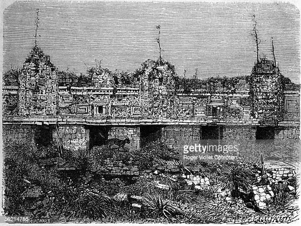 Uxmal The quadrilateral of the Nuns Drawing of Guiaud according to a photograph of Desired Charnay 1862