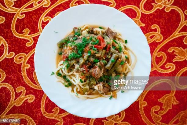Uyghur and dungan food: laghman noodles