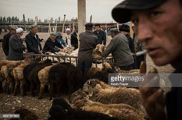 Uyghurs inspect sheep for sale at a livestock market on August 3 2014 in Kashgar Xinjiang Uyghur Autonomous Region China Nearly 100 people have been...