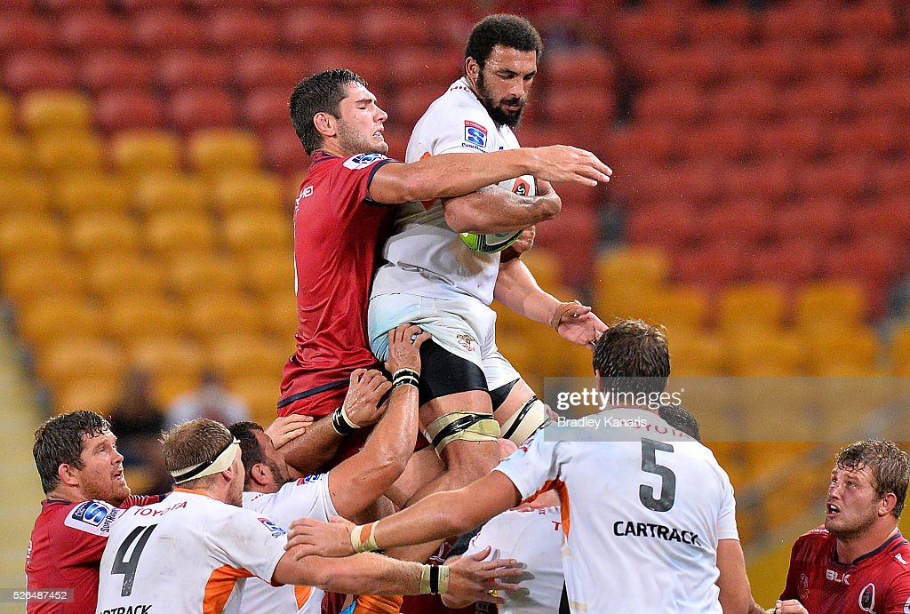 Uzair Cassiem of the Cheetahs competes at the lineout during the round 10 Super Rugby match between the Reds and the Cheetahs at Suncorp Stadium on April 30, 2016 in Brisbane, Australia.