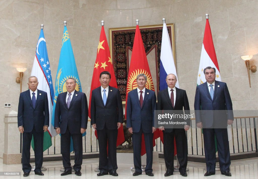 Uzbek President Islam Karimov, Kazakh President Nursultan Nazarbayev, Chinese President Xi Jungping, Kyrgyz President Almazbek Atambayev, Russian President Vladimir Putin and Tajik President Emomali Rakhmon on September13,2013 in Bishkek, Kyrgyzstan. Leaders of all six SCO member states (China, Kazakhstan, Kyrgyzstan, Russia, Tajikistan and Uzbekistan), have gather in Bishkek for the two-day summit. Regional security is likely to feature highly on the agenda along with sustainable economic and social development of the region.