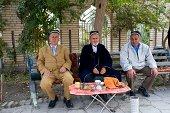 Uzbekistan Bukhara Street Scene With Local Men