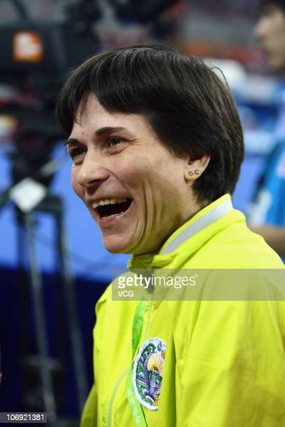 Uzbekistan coach Oksana Aleksandrovna Chusovitina looks on at the Artistic Gymnastics at the Asian Games Town Gymnasium during day four of the 16th...