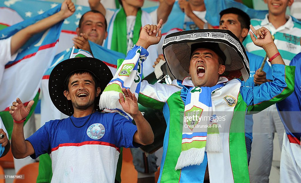Uzbekistan fans cheers on their team during the FIFA U20 World Cup Group F match between Ukbekistan and Uruguay at Akdeniz University Stadium on June 29, 2013 in Antalya, Turkey.