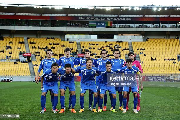 Uzbekistan pose for a team photo during the FIFA U20 World Cup New Zealand 2015 quarterfinal match between Senegal and Uzbekistan at Wellington...
