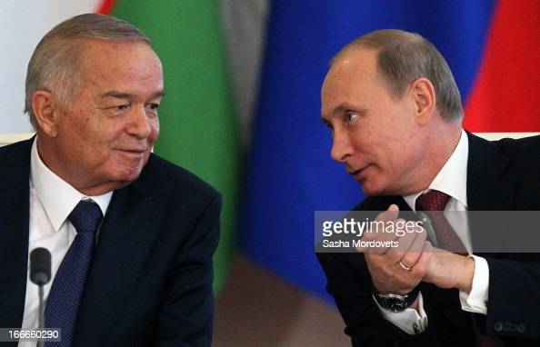 Uzbekistan President Islam Karimov and Russian President Vladimir Putin hold a meeting in the Kremlin on April 15 2013 in in Moscow Russia Karimov is...