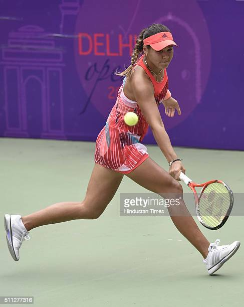 Uzbekistani Tennis player Sabina Sharipova in action against Indian Tennis player Ankita Raina during the Delhi Open 2016 at DLTA on February 19 2016...