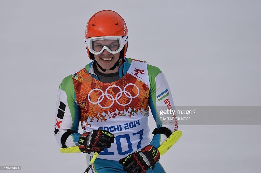 Uzbekistan's Artem Voronov competes during the Men's Alpine Skiing Giant Slalom Run 1 at the Rosa Khutor Alpine Center during the Sochi Winter Olympics on February 19, 2014. AFP PHOTO / DIMITAR DILKOFF