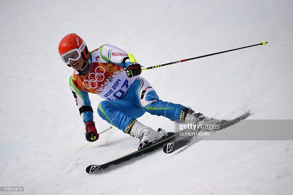 Uzbekistan's Artem Voronov competes during the Men's Alpine Skiing Giant Slalom Run 1 at the Rosa Khutor Alpine Center during the Sochi Winter Olympics on February 19, 2014.