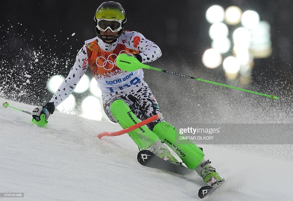 Uzbekistan's Artem Voronov competes during the Men's Alpine Skiing Slalom Run 1 at the Rosa Khutor Alpine Center during the Sochi Winter Olympics on February 22, 2014. AFP PHOTO / DIMITAR DILKOFF