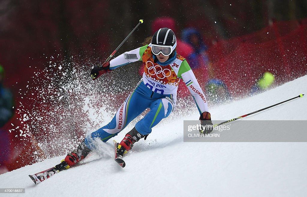 Uzbekistan's Kseniya Grigoreva competes during the Women's Alpine Skiing Giant Slalom Run 1 at the Rosa Khutor Alpine Center during the Sochi Winter Olympics on February 18, 2014. AFP PHOTO / OLIVIER MORIN
